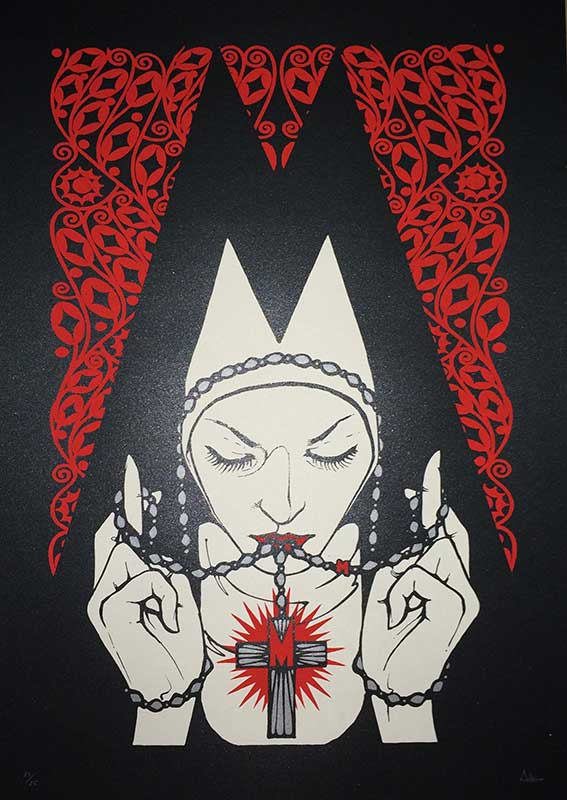 """Male"" by Malleus.  50 x 70cm 2-color Screenprint.  Ed of 25 S/N."