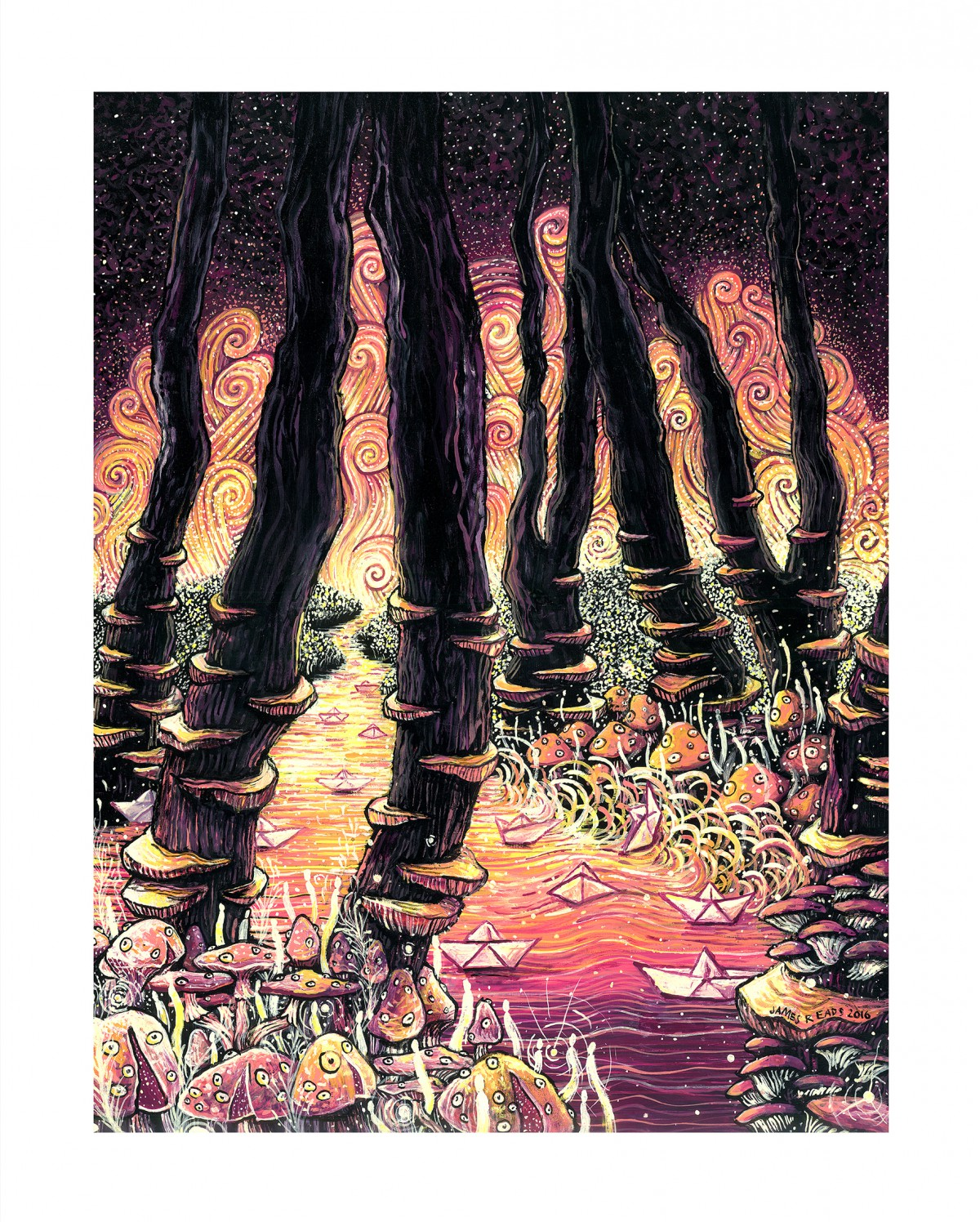 """Mushroom Party"" by James R Eads.  16"" x 20"" Giclee.  Ed of 50 S/N. $50"