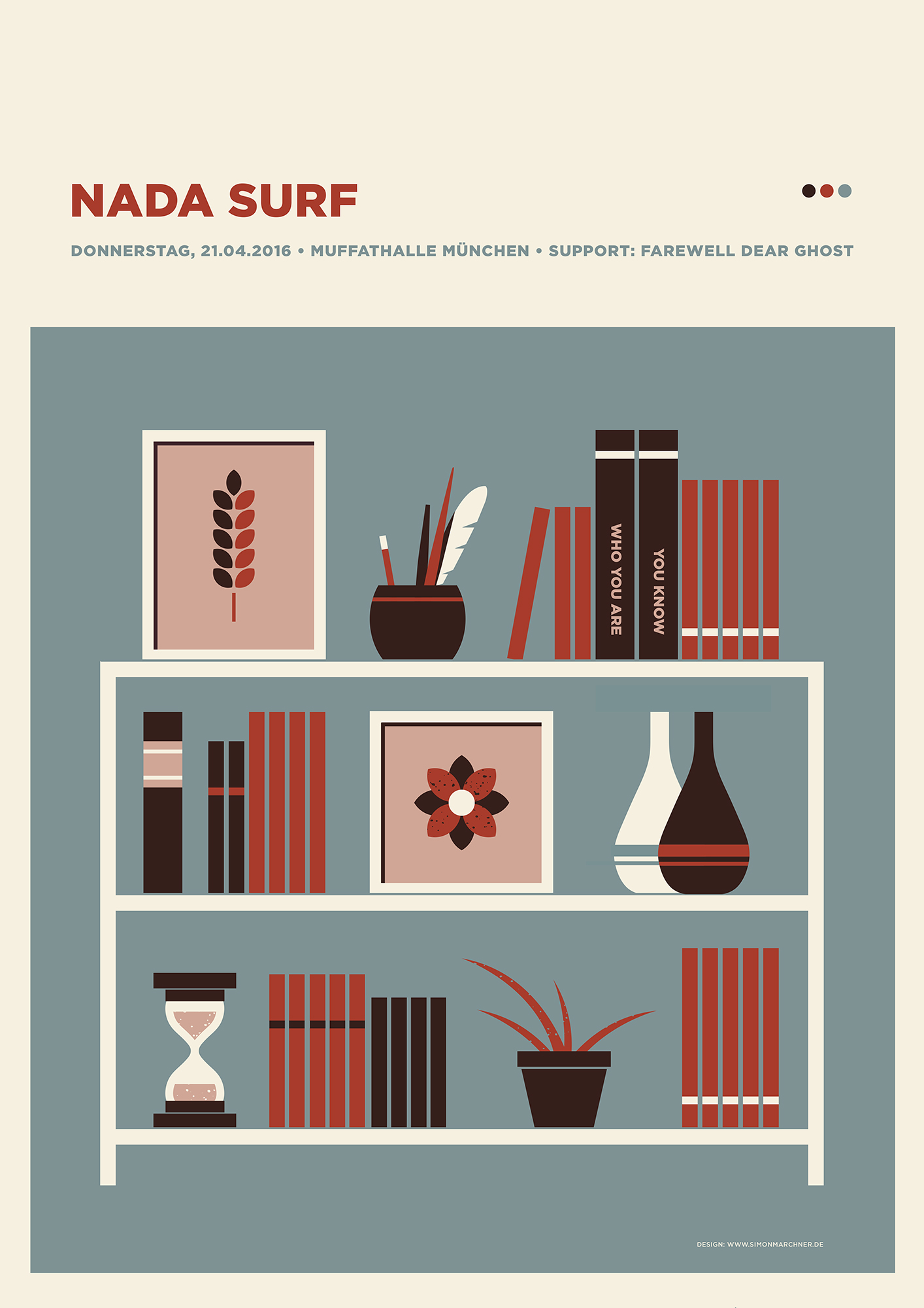 """Nada Surf - Muffathalle München 2016"" by Simon Marchner.  42 x 59.4cm 4-color Screenprint.  Ed of 60.  €25 ($28)"