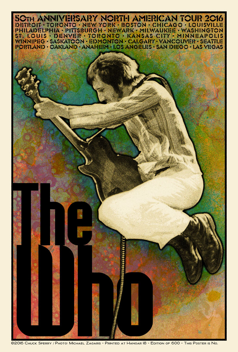 """The Who – 50th Anniversary US Tour 2016"" by Chuck Sperry.  21"" x 31"" 7-color Screenprint.  Ed of 600 S/N.  (Pete Townshend)"