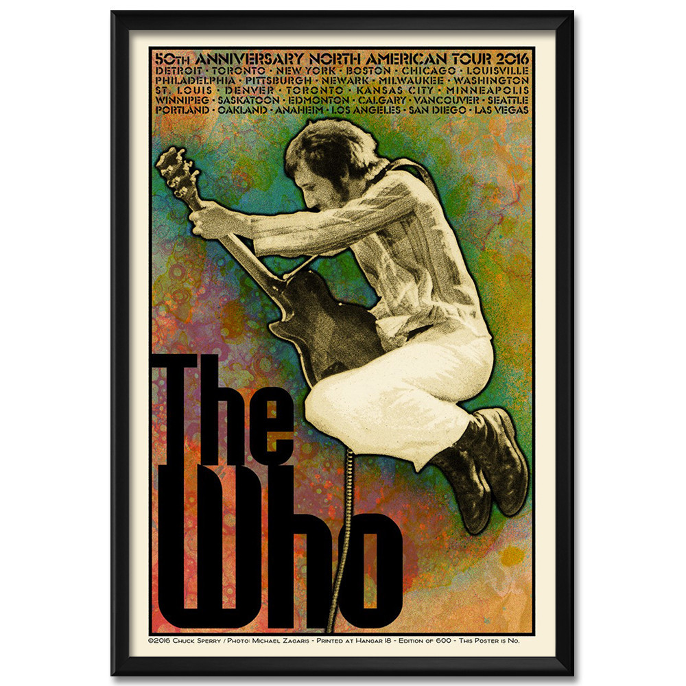 """The Who - 50th Anniversary US Tour 2016"" by Chuck Sperry.  21"" x 31"" 7-color Screenprint, framed.  Ed of 600 S/N.  $250 (Pete)"