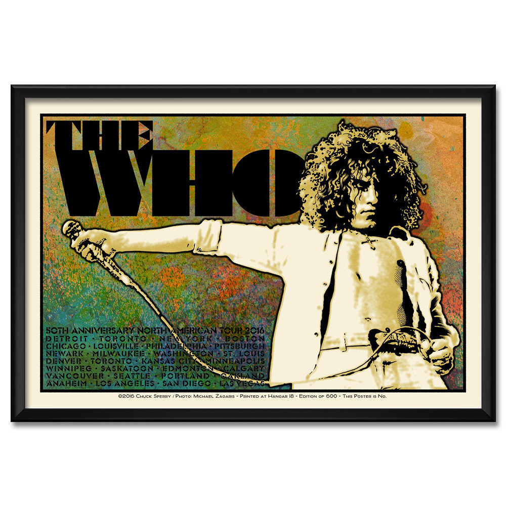 """The Who - 50th Anniversary US Tour 2016"" by Chuck Sperry.  21"" x 31"" 7-color Screenprint, framed.  Ed of 600 S/N.  $250 (Roger)"