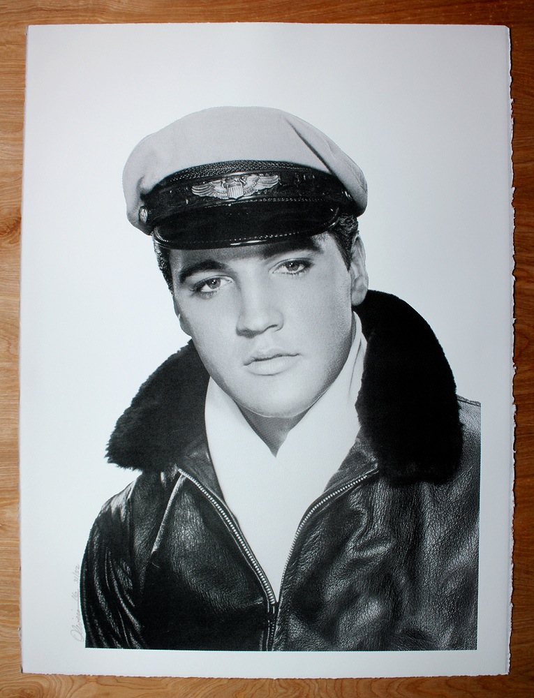 """Crazy About Elvis"" by Tim Oliveira.  22.5"" x 30"" Screenprint.  Ed of 32 S/N.  $35 (B&W)"