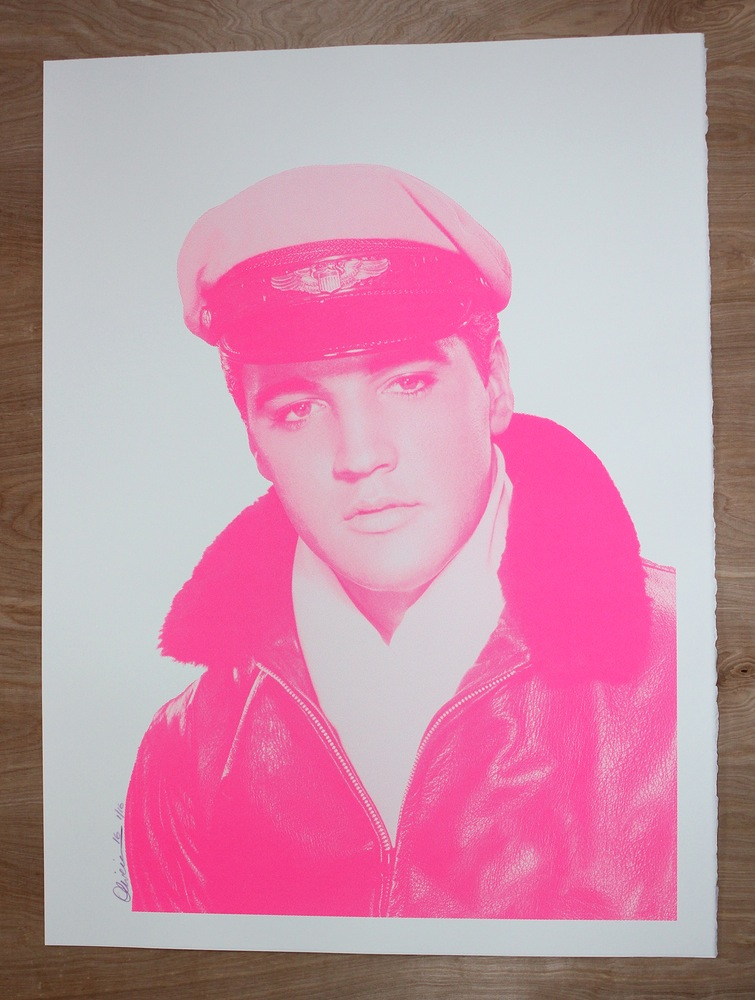 """Crazy About Elvis"" by Tim Oliveira.  22.5"" x 30"" Screenprint.  Ed of 16 S/N.  $40 (Pink)"