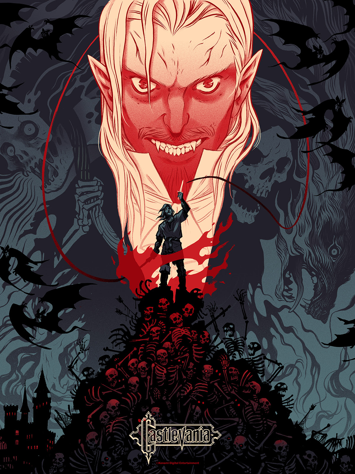 "Castlevania by Becky Cloonan. 18""x24"" screen print. Hand numbered. Edition of 200. Printed by D&L Screenprinting. $40"