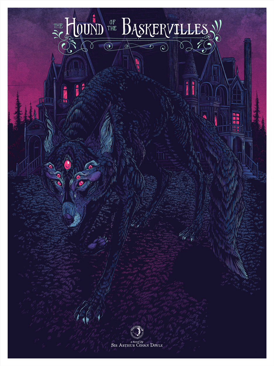 """The Hound of the Baskervilles"" by Erica Williams.  18"" x 24"" 4-color Screenprint.  Ed of 175 N.  £30 ($43)"