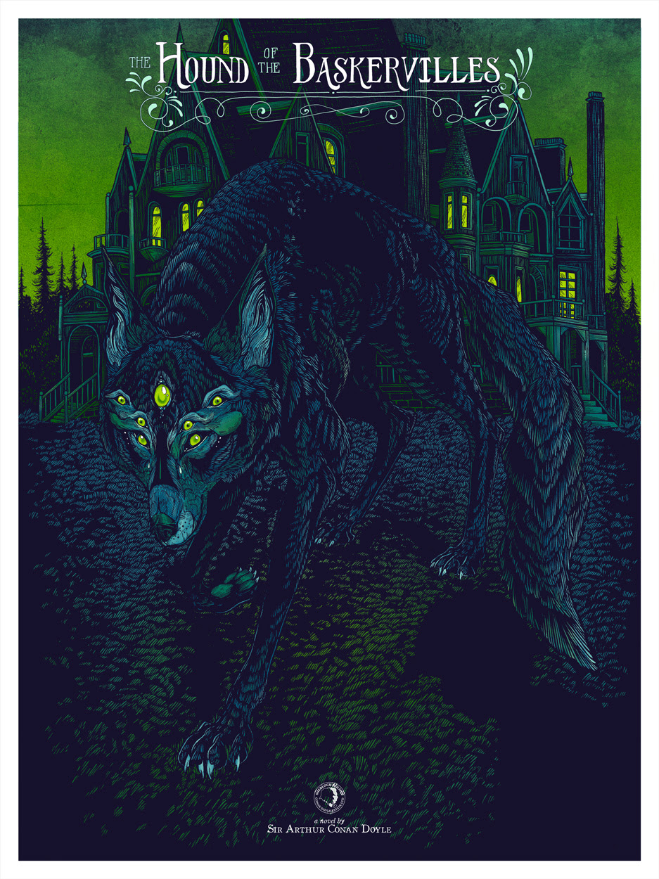 """The Hound of the Baskervilles"" by Erica Williams.  18"" x 24"" 4-color Screenprint.  Ed of 50 N.  £50 ($71) (variant)"