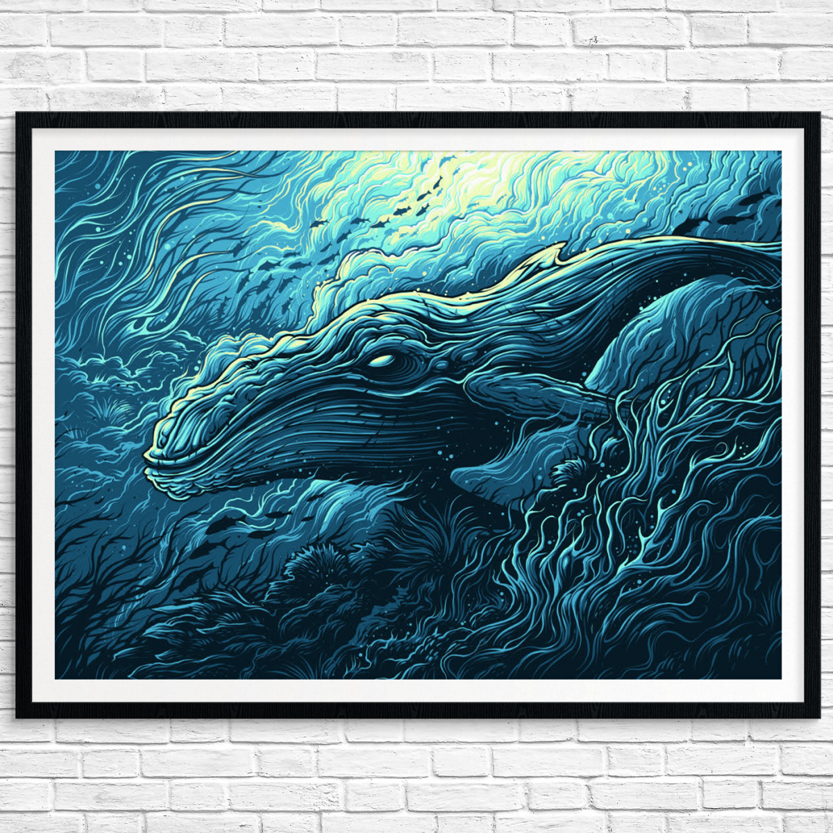 """Megaptera Novaeangliae"" by Dan Mumford.  24"" x 18"" 5-color Screenprint.  Ed of 50 N.  $50"