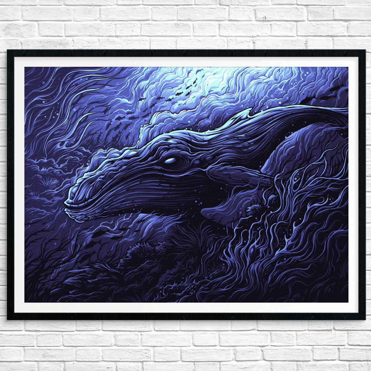 """Megaptera Novaeangliae"" by Dan Mumford.  24"" x 18"" 5-color Screenprint.  Ed of 25 N.  $70 (variant)"