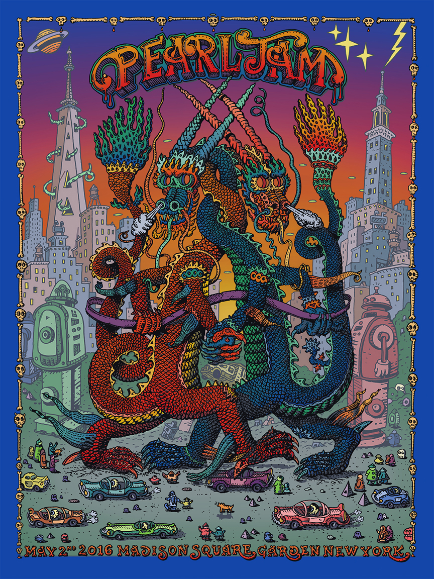 """Pearl Jam - New York, NY 2016"" by David Welker.  18"" x 24"" 6-color Screenprint.  Ed of 100 S/N.  $75"