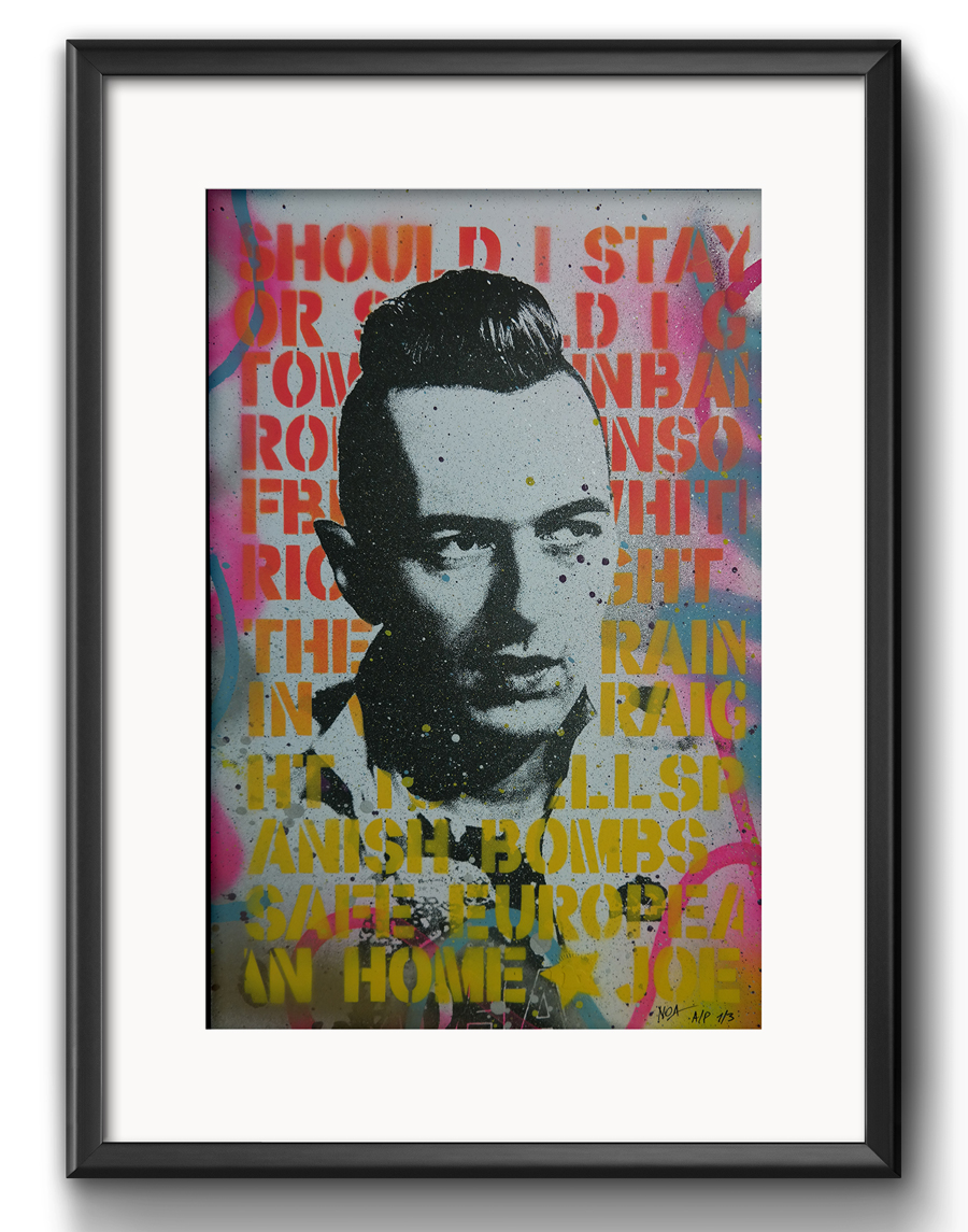 """Safe European Home Joe"" by Noa.  330 x 487mm HPM w/ GID layer.  AP edition of 3 S/N.  125 Euro ($142)"
