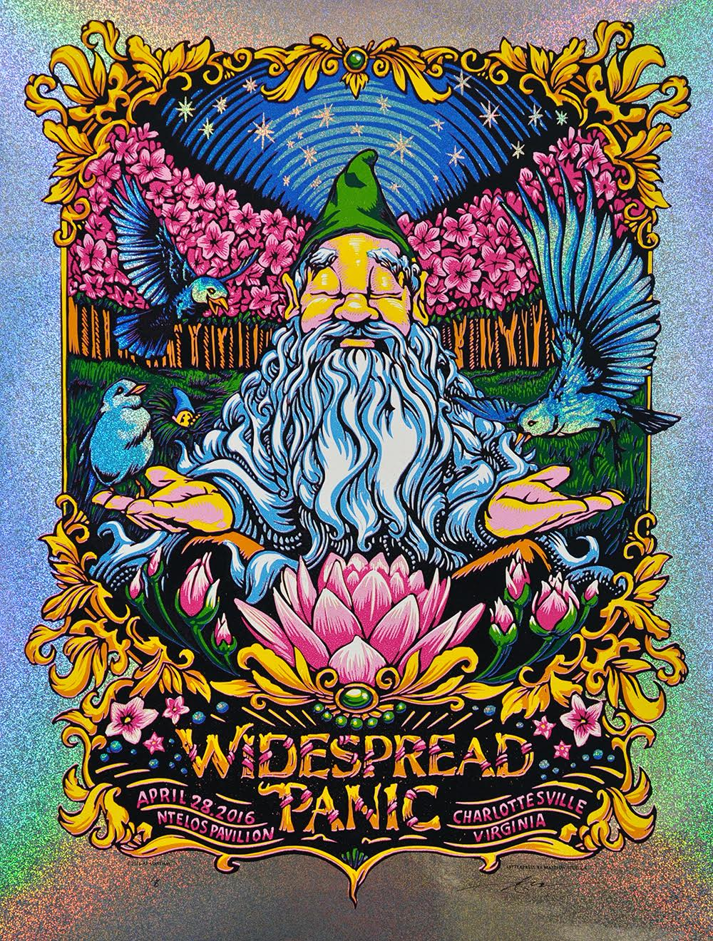 """Widespread Panic - Charlottesville, VA 2016"" by AJ Masthay.  18"" x 24"" 9-color Linoleum Block.  Ed of 8 S/N.  $125 (Sparkle Foil)"