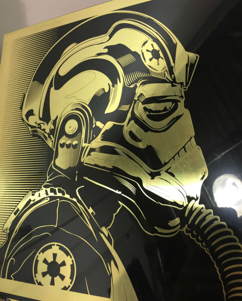 """Tie Pilot"" by Joshua Budich.  12"" x 12"" Laser engrave on brass.  Ed of 20 S/N.  $100"