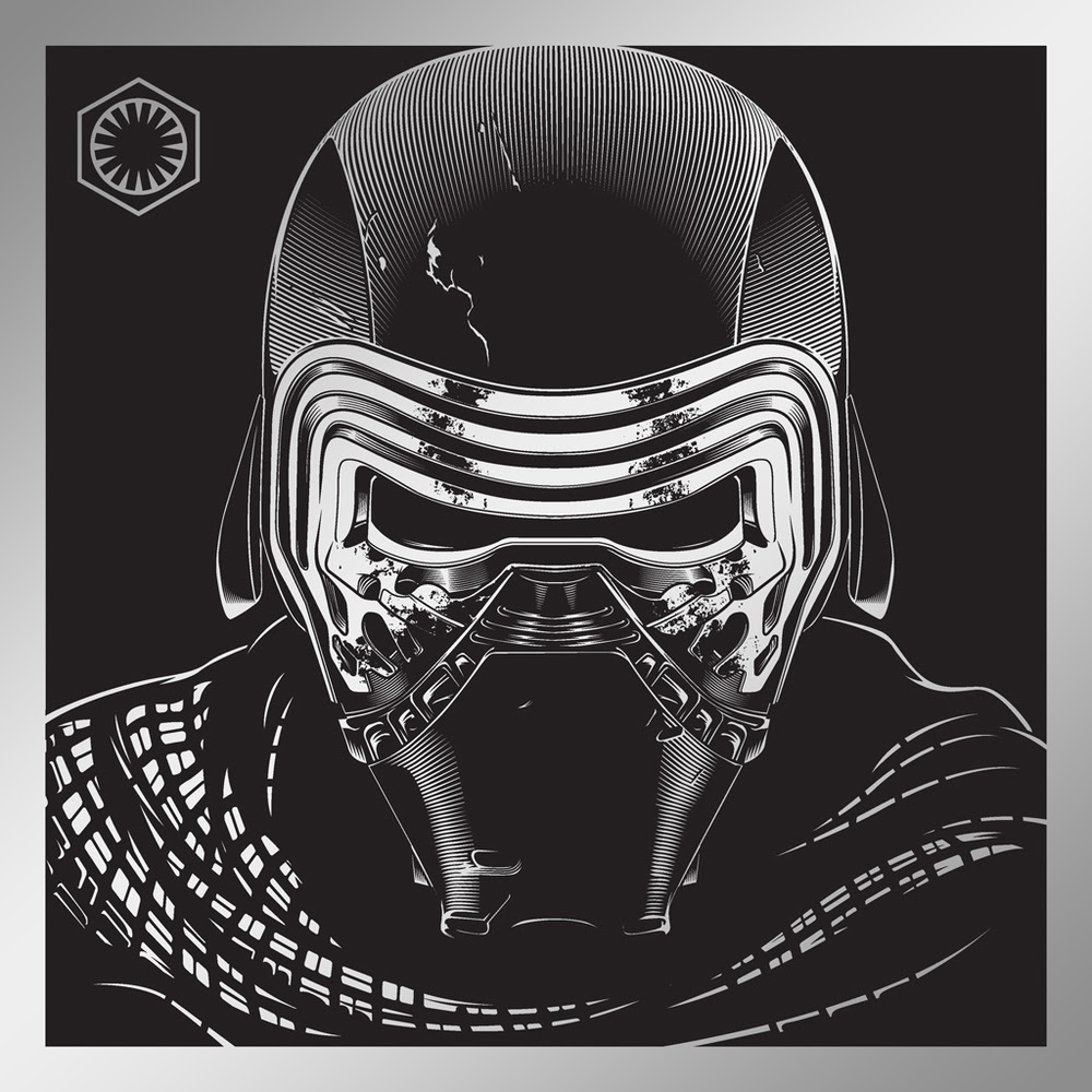 """""""Kylo Ren"""" by Joshua Budich.  12"""" x 12"""" Laser Engrave.  Ed of 100."""
