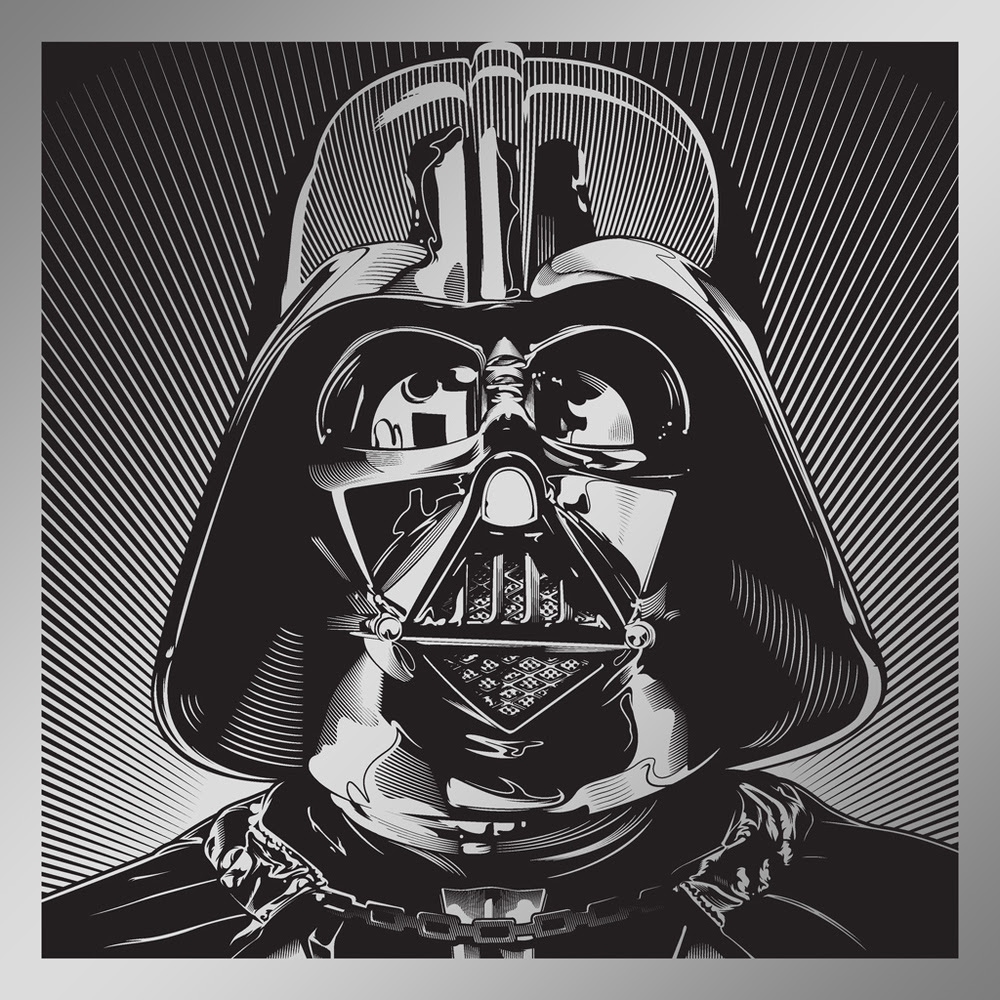 """Darth Vader"" by Joshua Budich.  12"" x 12"" Laser engrave.  Ed of 100 S/N.  $85"