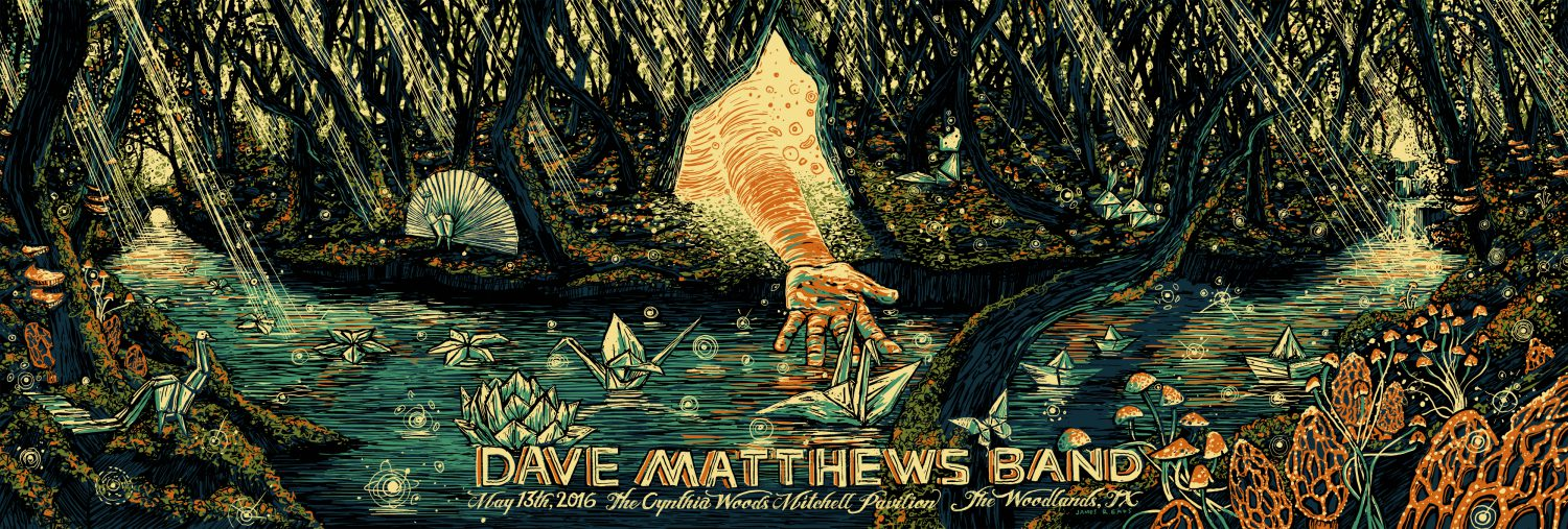 """Dave Matthews Bands - Woodlands, TX 2016"" by James R Eads.  12"" x 36"" 5-color Screenprint.  AP edition of 120 S/N.  $80"