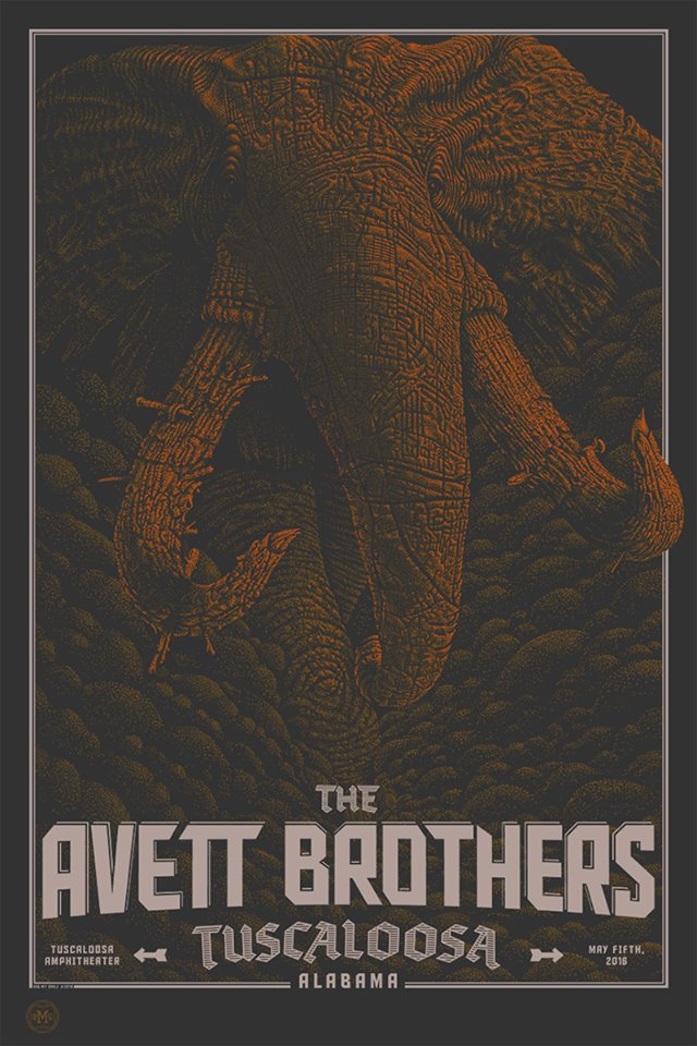 """The Avett Brothers - Tuscaloosa, AL 2016"" by Dig My Chili.  24"" x 36"" 3-color Screenprint.  Ed of 50."