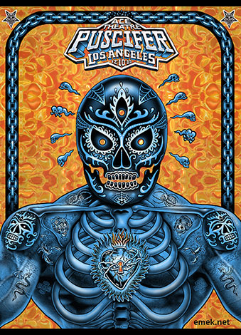 """Puscifer - Los Angeles, CA 2016"" by Emek.  18"" x 24"" Screenprint on lenticular paper.  Ed of 200 S/N.  $100 (Blue)"