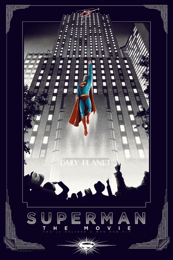 """Superman"" by Matt Ferguson.  24"" x 36"" Screenprint .  Variant (Ed of 50, $100) : Foil (Ed of 10, $150)"