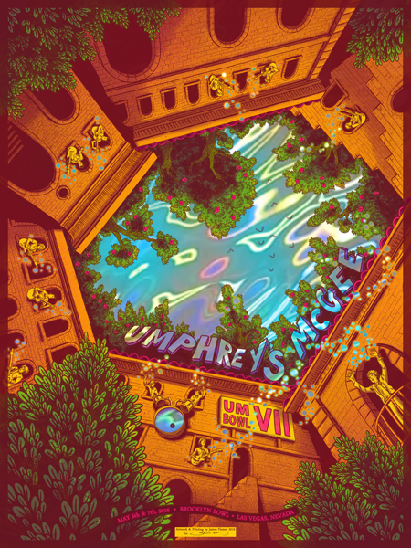 """Umphrey's McGee - Las Vegas, NV 2016"" by James Flames.  18"" x 24"" 5-color Screenprint.  Ed of 20 S/N.  $100 (Lava HoloFoil)"