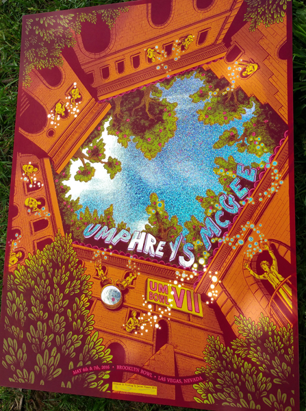"""Umphrey's McGee - Las Vegas, NV 2016"" by James Flames.  18"" x 24"" 5-color Screenprint.  Ed of 6 S/N.  $100 (Sparkle HoloFoil)"