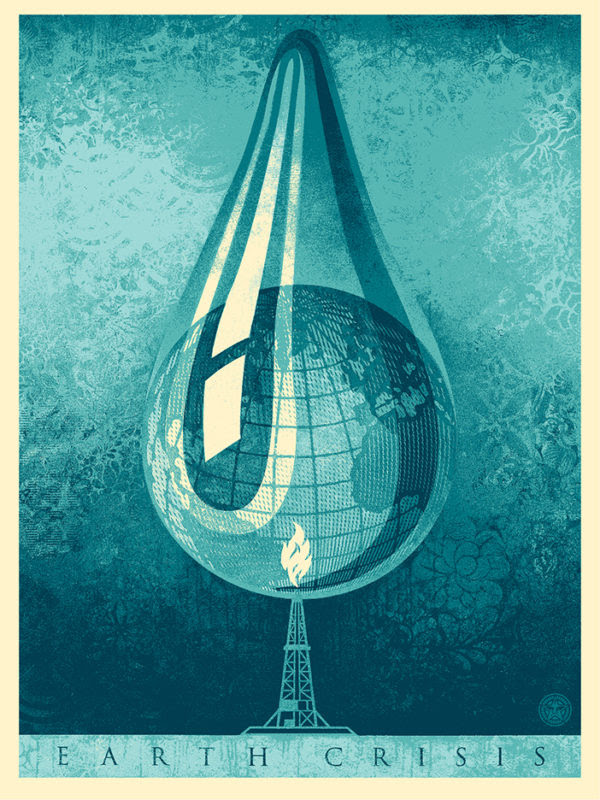 """Earth Crisis Drop"" by Shepard Fairey.  18"" x 24"" Screenprint.  Ed of 450 S/N.  $45"