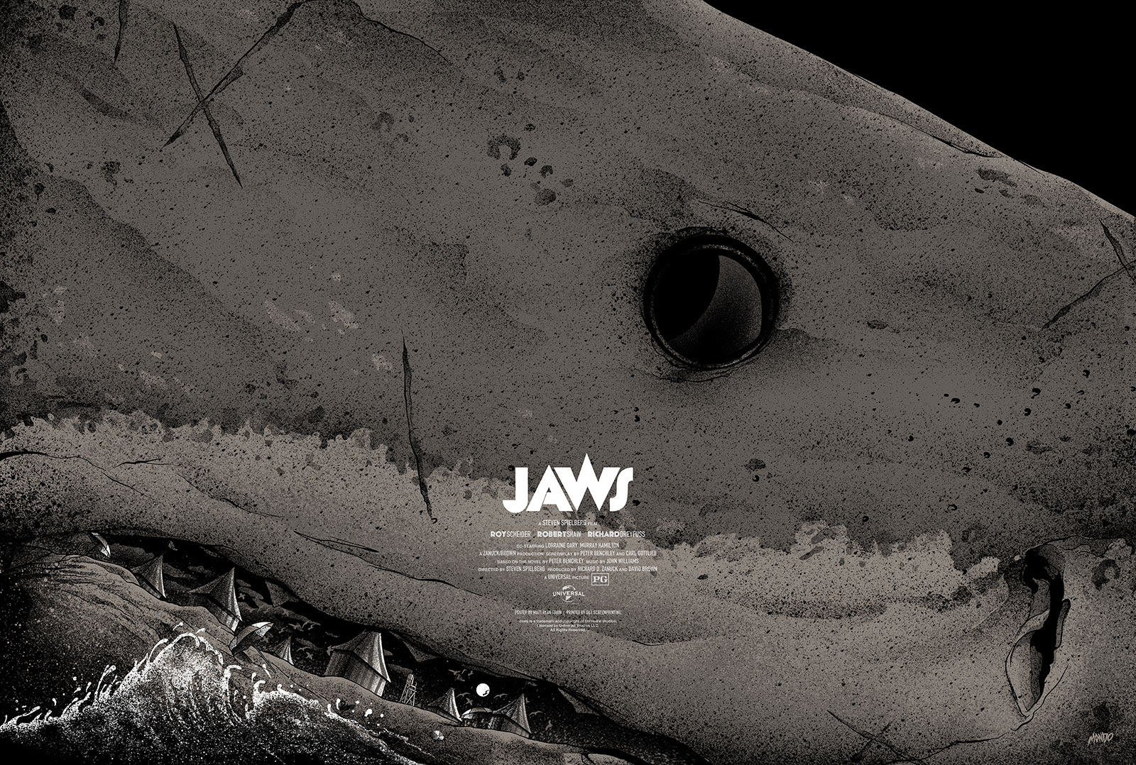 "Jaws by Matt Ryan Tobin. 36""x24"" screen print. Hand numbered. Edition of 275. Printed by D&L Screenprinting. $45"