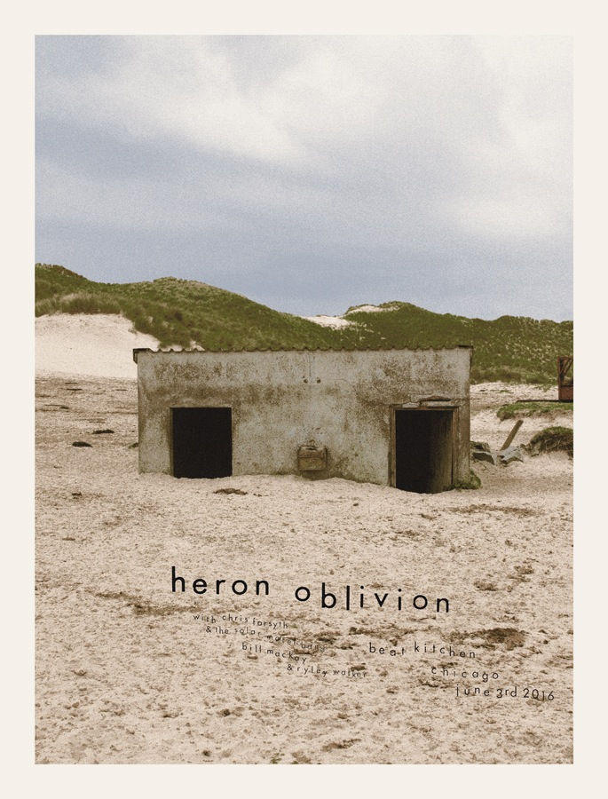 """""""Heron Oblivion - Chicago, IL 2016"""" by Crosshair.  17.5"""" x 23"""" 7-color Screenprint.  Ed of 100 S/N.  $30"""