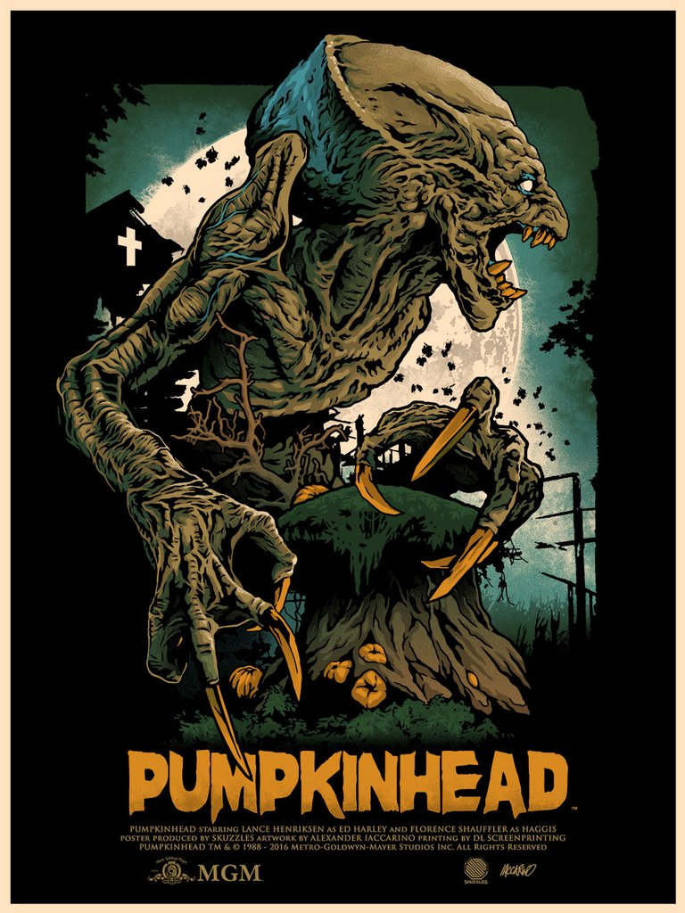 """Pumpkinhead"" by Alexander Iaccarino.  18"" x 24"" Screenprint.  Ed of 50.  $45 (Metallic Variant)"