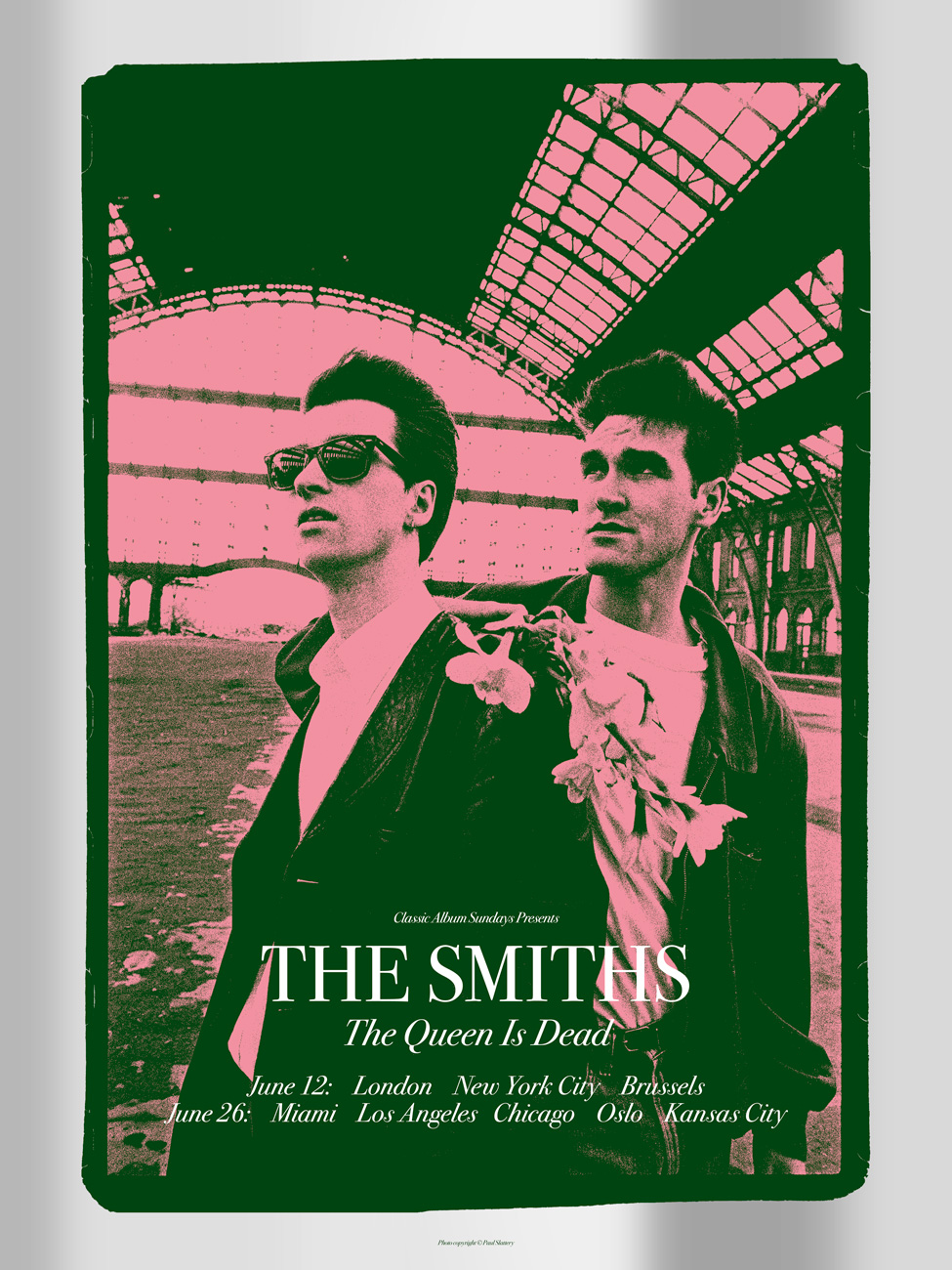 """The Smiths – The Queen is Dead"" by Carl Glover.  18"" x 24"" 3-color Screenprint.  Ed of 25 S/N.  £50 ($71) (Foil variant)"