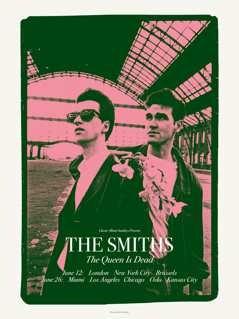 """The Smiths – The Queen is Dead"" by Carl Glover.  18"" x 24"" 3-color Screenprint.  Ed of 100 S/N.  £35 ($49)"