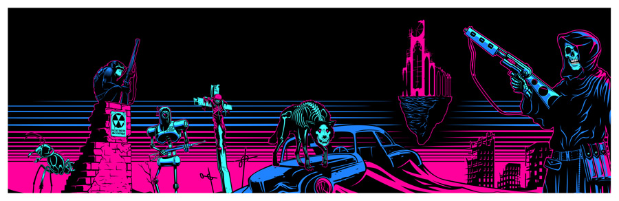 """""""Radlands"""" by Kray Sudderth.  36"""" x 11.75"""" 4-color Screenprint.  Ed of 18 S/N.  $75"""