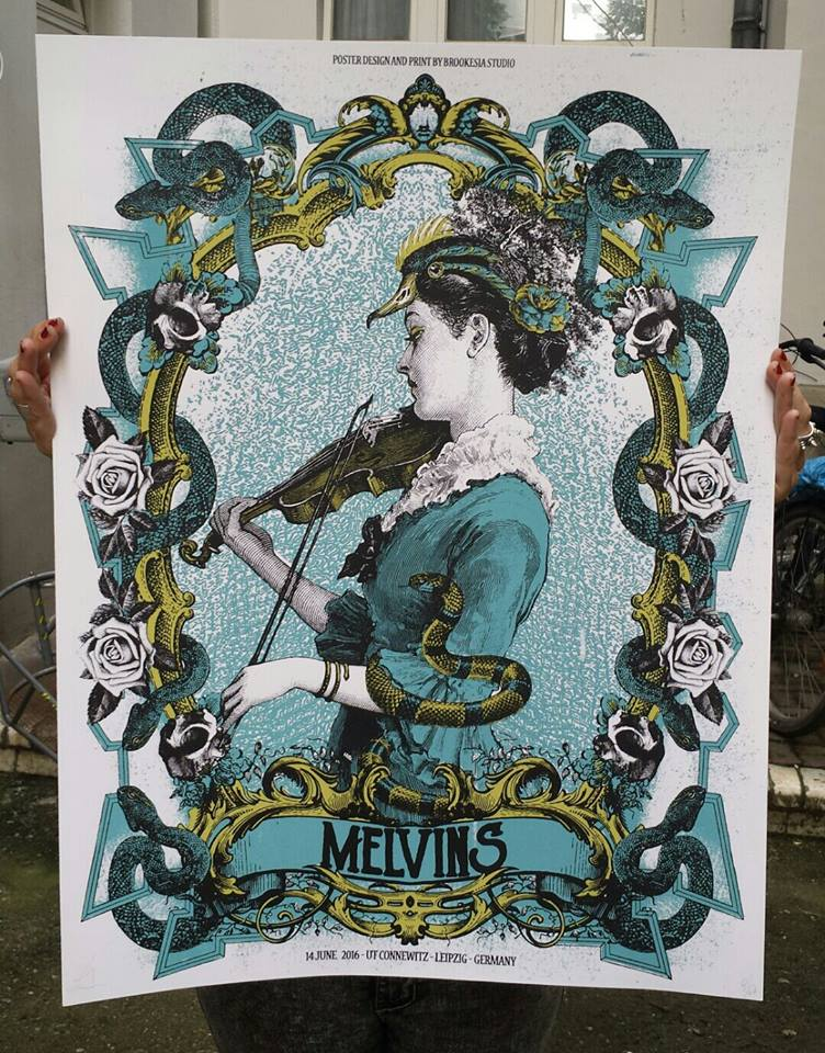 """Melvins - Germany 2016"" by Brookesia Studio.  50 x 65cm Screenprint.  Ed of 60 S/N.  €15 ($17)"