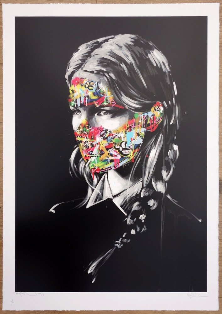"""La Cage et les deux âmes"" by Sandra Chevrier & Martin Whatson.  100 x 71cm 21-color Screenprint.  Ed of 300 S/N.  £300 ($403)"