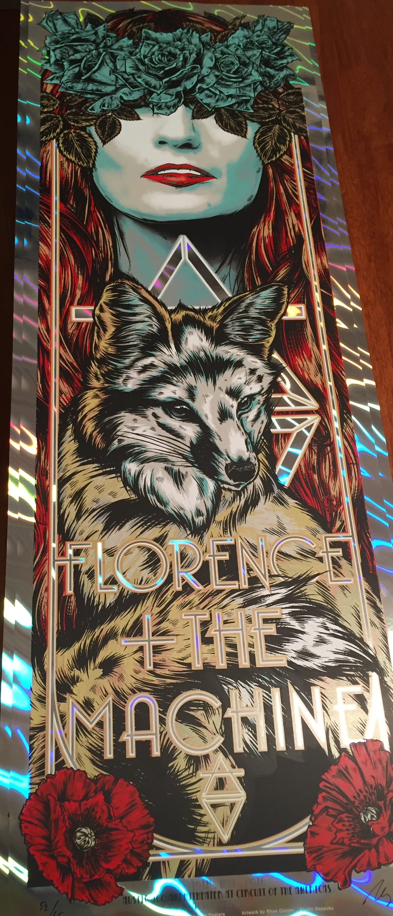 """Florence & the Machine - Austin, TX 2016"" by Rhys Cooper.  12"" x 36"" 6-color Screenprint.  Ed of 65 S/N.  $65 (Holographic foil variant)"