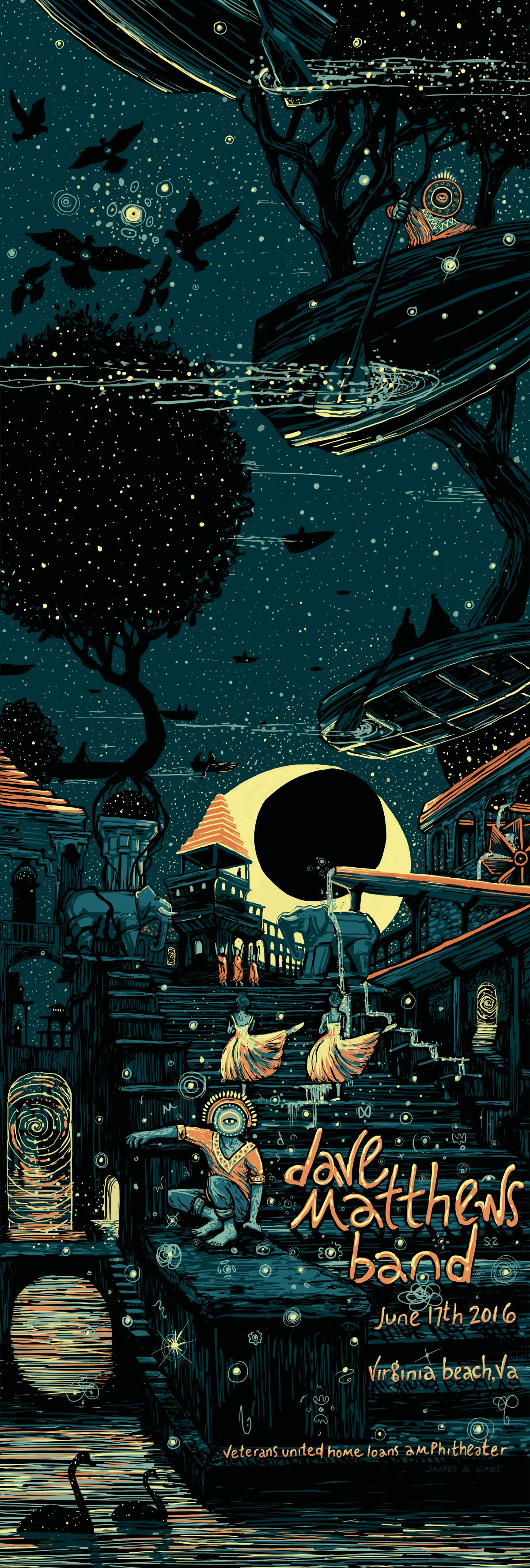 """Dave Matthews Band - Virginia Beach, VA 2016"" by James R Eads.  12"" x 36"" 5-color Screenprint.  AP edition of 60 S/N.  $65"