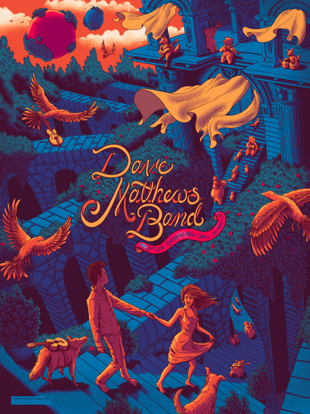 """Dave Matthews Band - Cincinnati, OH 2016"" by James Flames.  18"" x 24"" 5-color Screenprint.  Ed of 750 S/N."