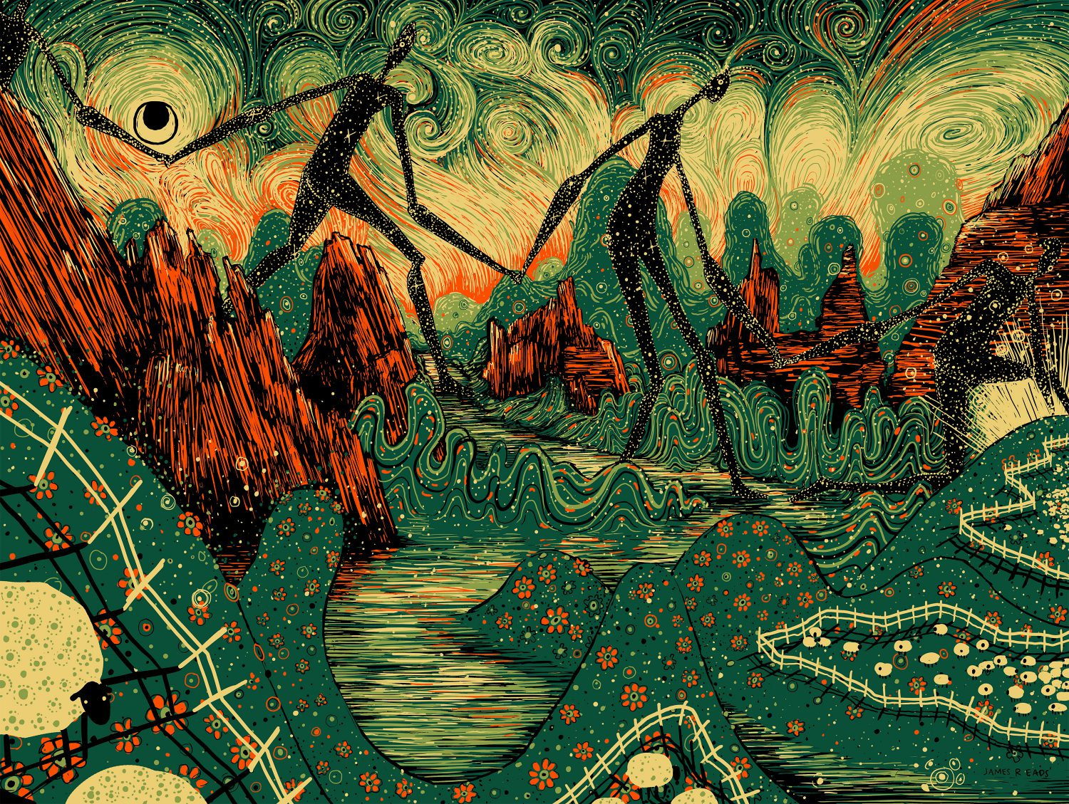 """Four Giants"" by James R Eads.  18"" x 24"" 4-color Screenprint.  Ed of 80 S/N.  $30"