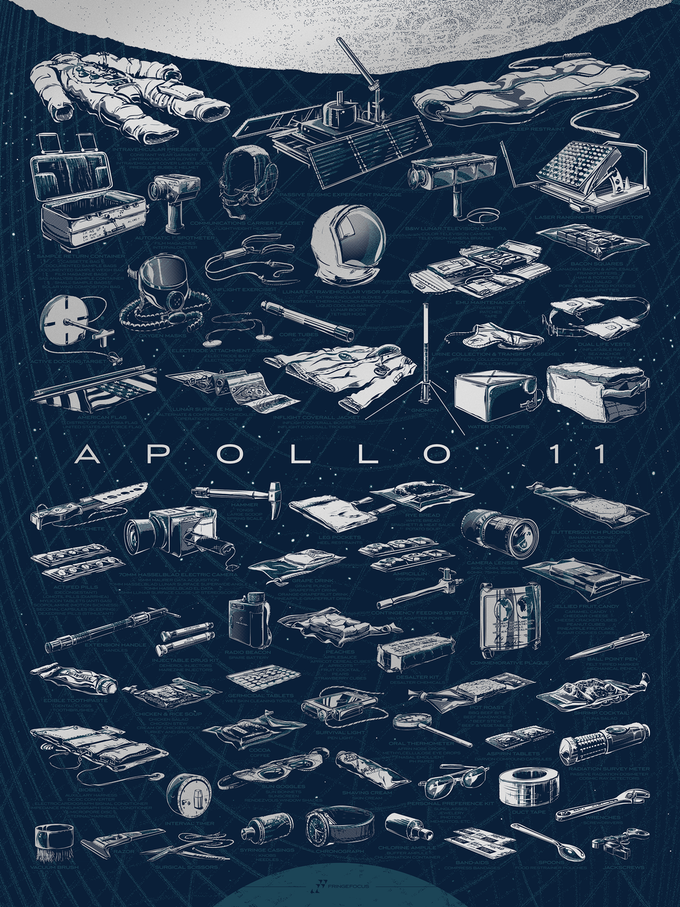 """""""The Apollo 11 Collection"""" by Rob Loukotka.  18"""" x 24"""" 2-color Screenprint.  Open edition S.  $29"""