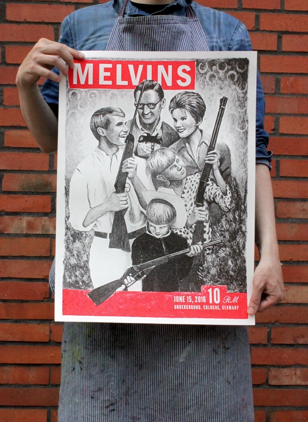 """Melvins - Cologne 2016"" by Christopher Gundermann.  16.34"" x 24.21"" 2-color Screenprint.  Ed of 14 S/N.  €30 ($33) (variant)"
