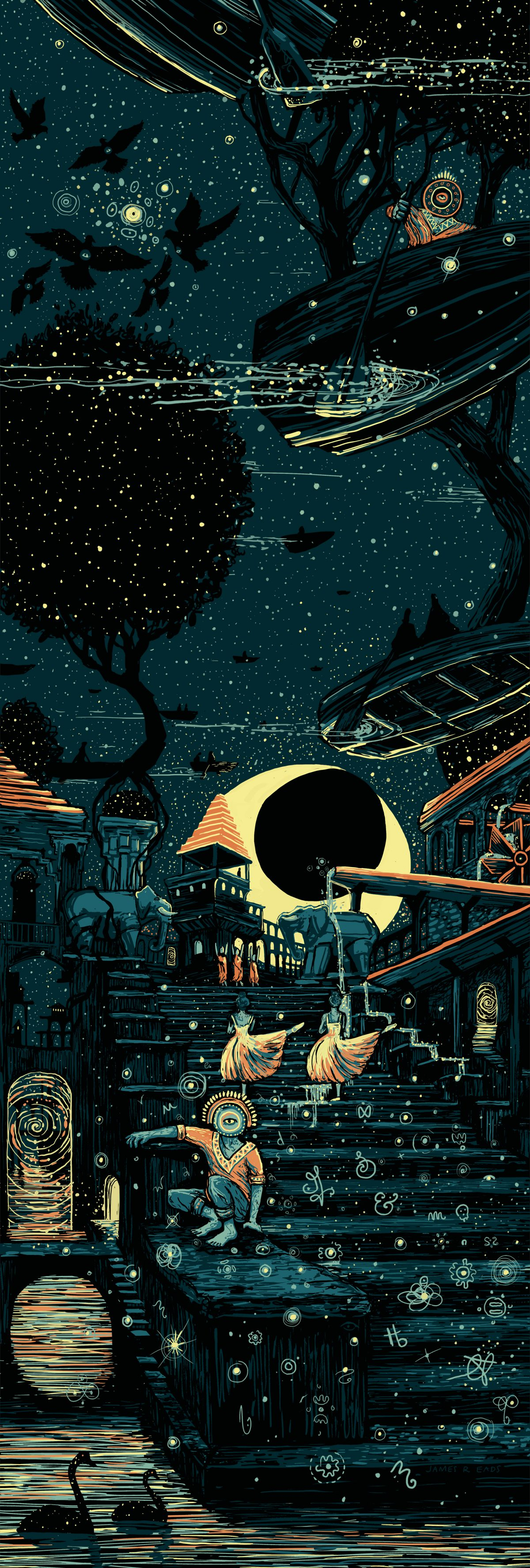 """The Language of Time"" by James R Eads.  12"" x 36"" 5-color Screenprint.  Ed of 60 S/N.  $65"