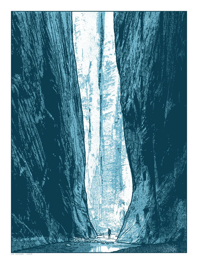 """The Narrows"" by Dan McCarthy.  18"" x 24"" 2-color Screenprint.  Limited edition S/N.  $35"