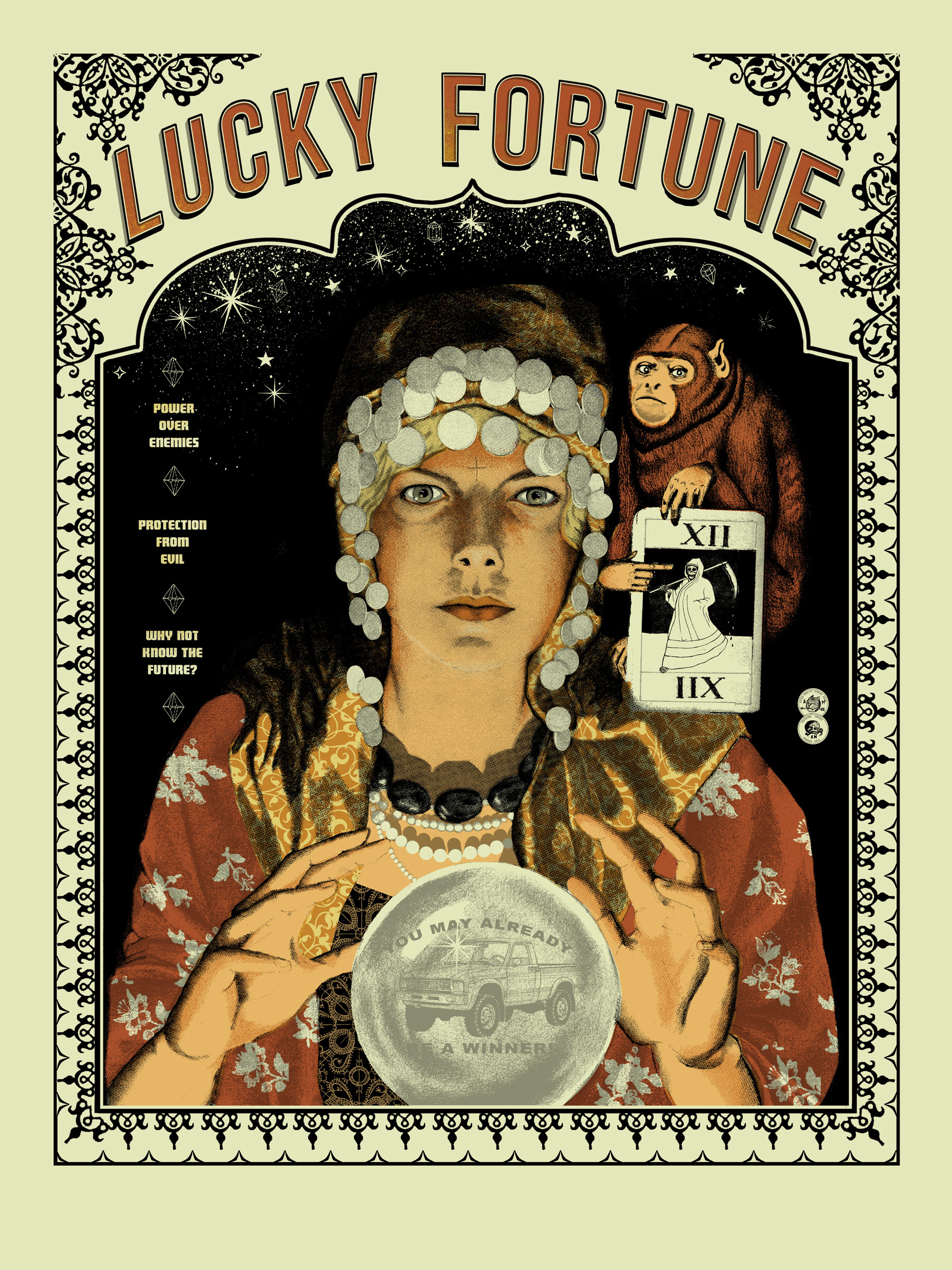 """Lucky Fortune"" by Arna Miller.  18"" x 24"" 6-color Screenprint.  Ed of 25 S/N.  $40"