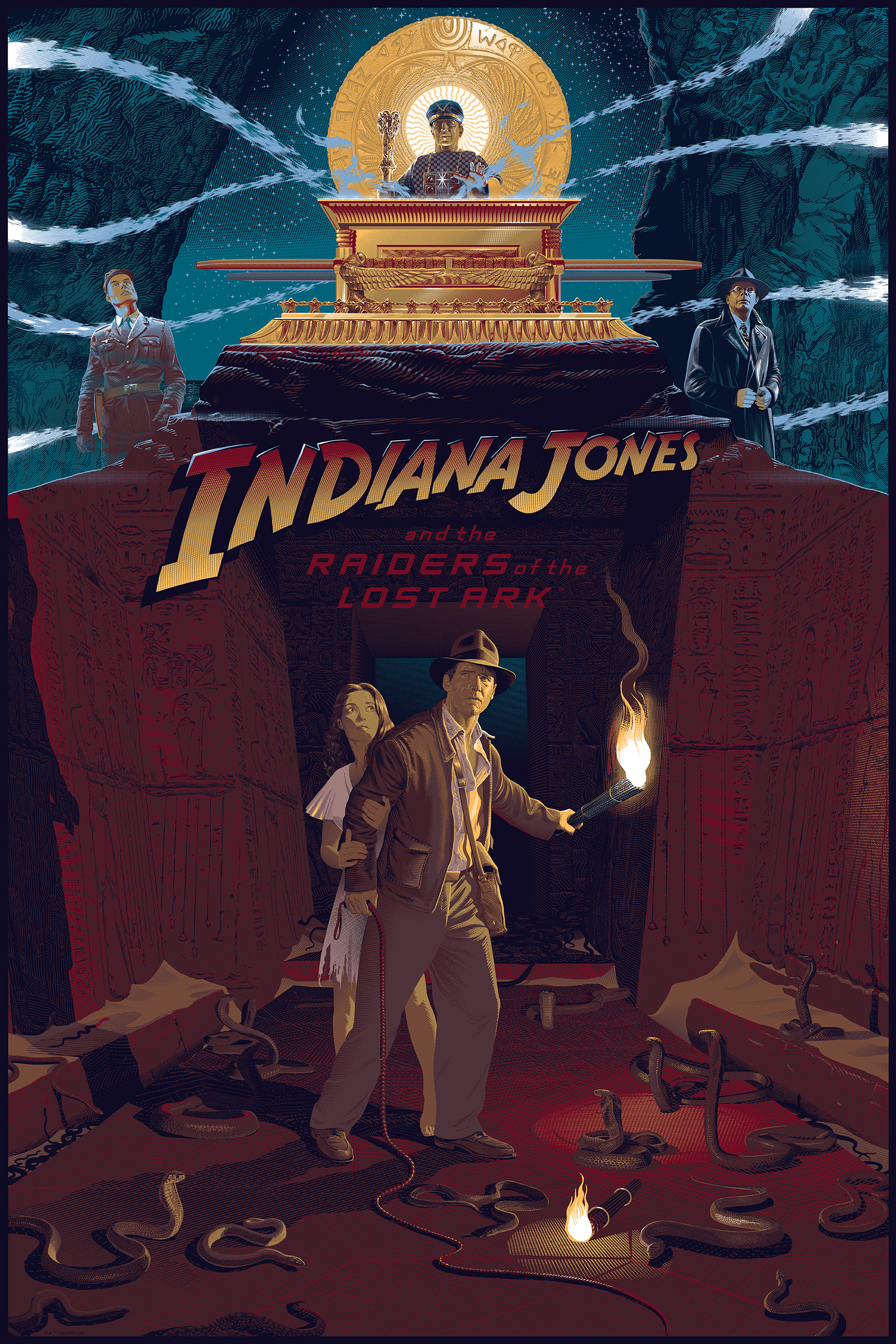 """Indiana Jones and the Raiders of the Lost Ark"" by Laurent Durieux.  24"" x 36"" 15-color Screenprint w/ metallic.  Ed of 275 N.  $80 (variant)"