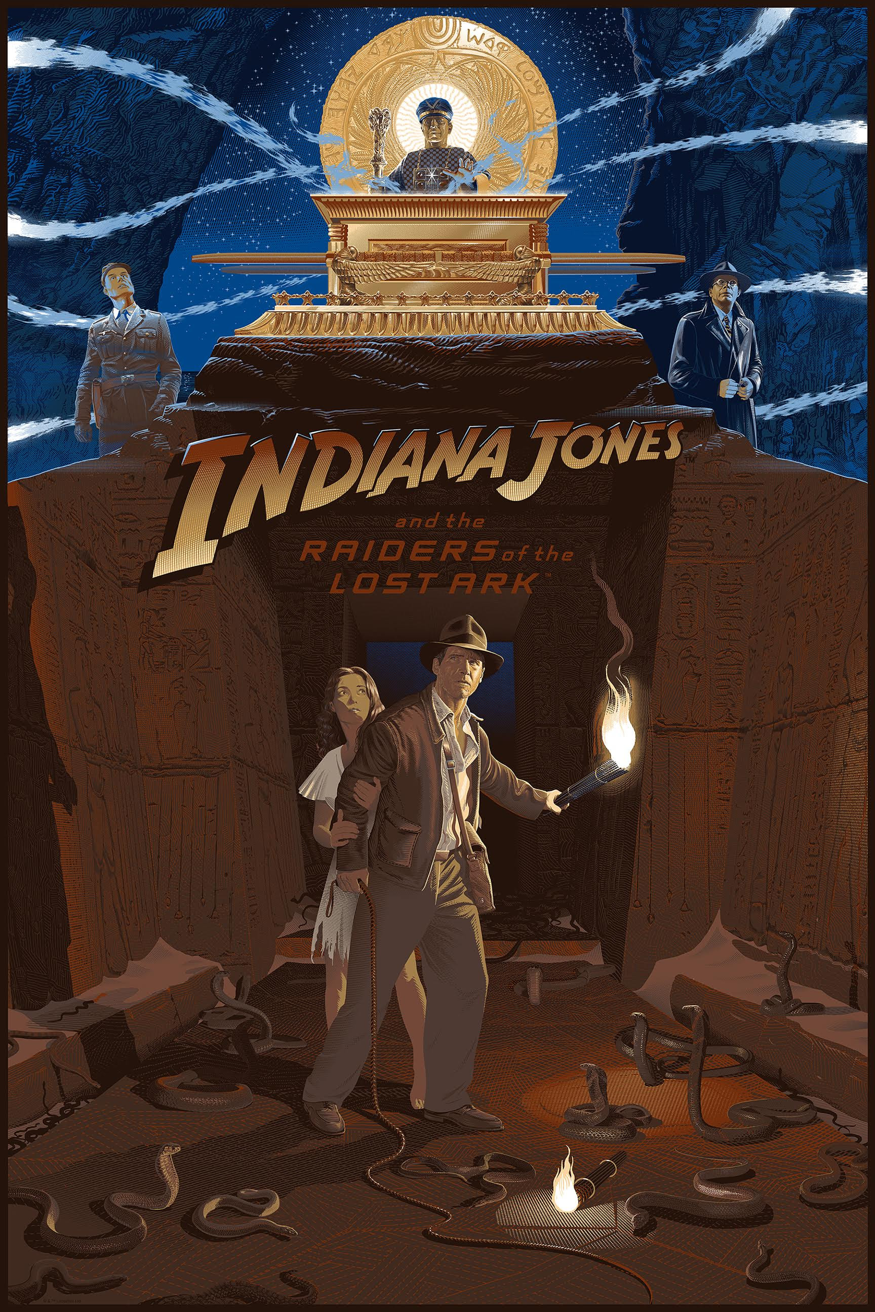 """Indiana Jones and the Raiders of the Lost Ark"" by Laurent Durieux.  24"" x 36"" 15-color Screenprint w/ metallic.  Timed edition.  $60"