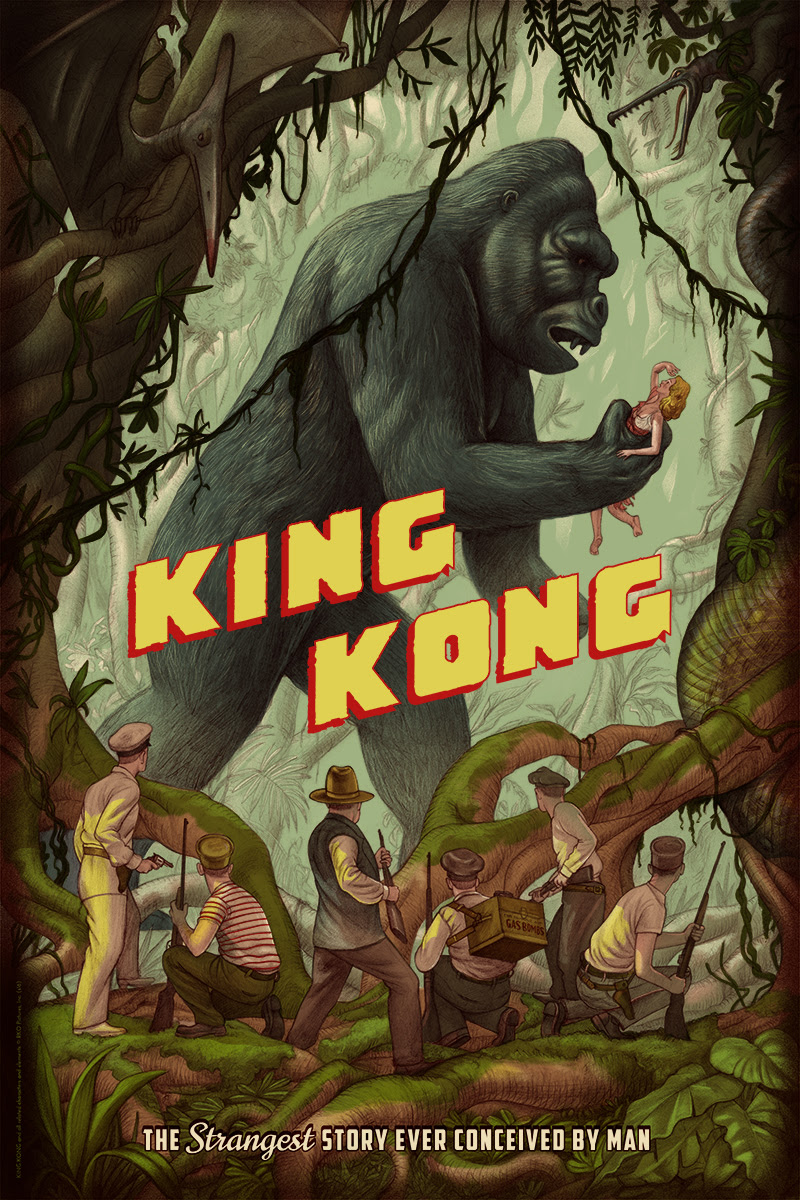 "King Kong (Jungle) by Jonathan Burton. 24""x36"" screen print. Hand numbered. Edition of 325. Printed by D&L Screenprinting. $50"