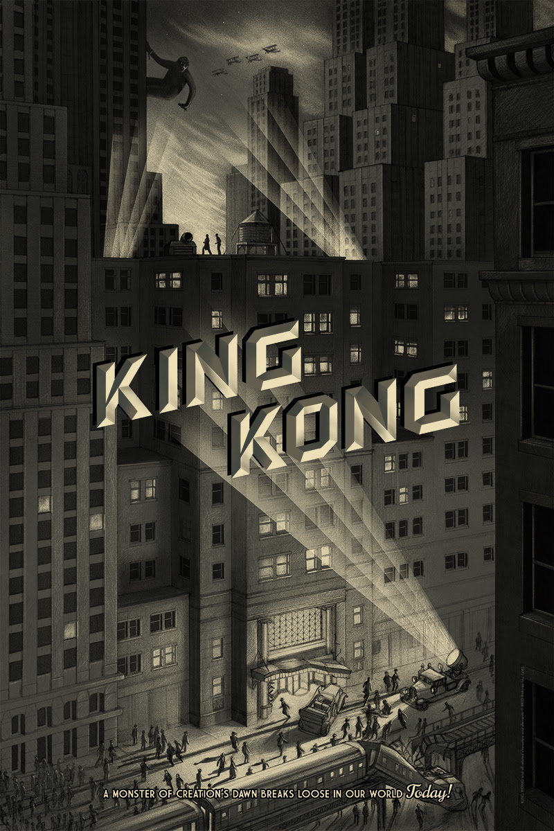 "King Kong (City) by Jonathan Burton. 24""x36"" screen print. Hand numbered. Edition of 325. Printed by D&L Screenprinting. $50"