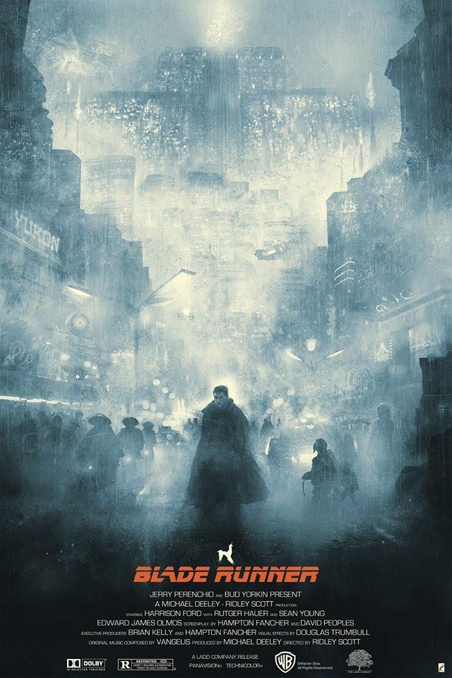 """Te Vagy a Blade Runner"" by Karl Fitzgerald.  24"" x 36"" 6-color Screenprint w/ metallic red.  Max edition of 95.  £43 ($62) (Blue Rain Regular)"