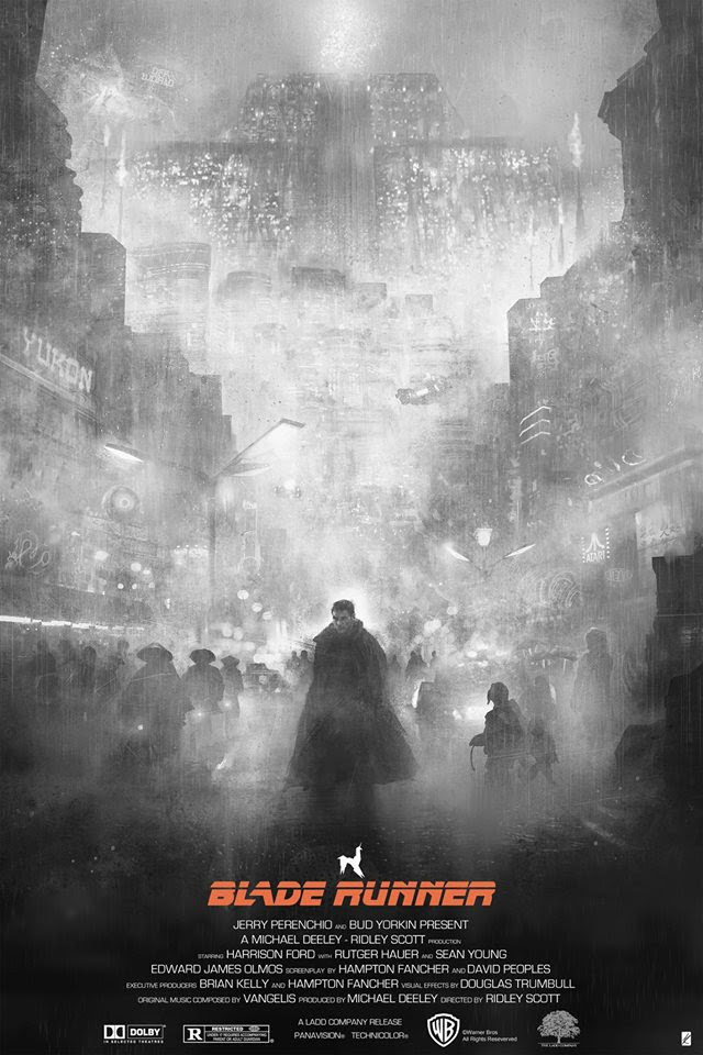 """Te Vagy a Blade Runner"" by Karl Fitzgerald.  24"" x 36"" 6-color Screenprint w/ metallic red.  Max edition of 45.  £48 ($69) (White Mist B&W Variant)"