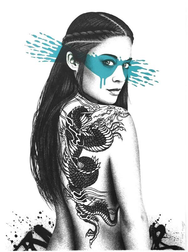 """Senaka"" by FinDAC.  76 x 56cm Screenprint, hand-finished.  Ed of 75 S/N.  200€ ($225) (Kobalt)"